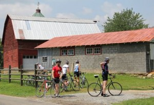 Barn and riders